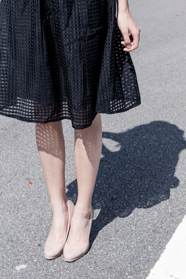 Mesh grid midi skirt Black 16